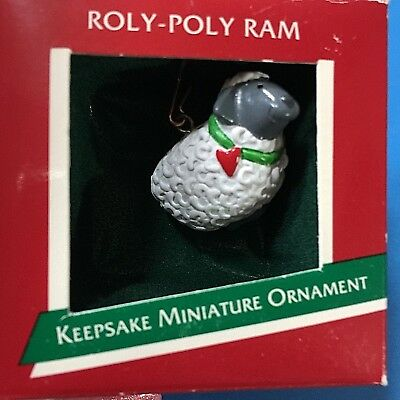 "Hallmark ""Roly-Poly Ram"" Miniature Ornament 1989"