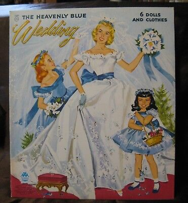 Vintage Original 1955 Uncut Merrill The Heavenly Blue Wedding Paper Dolls #2580