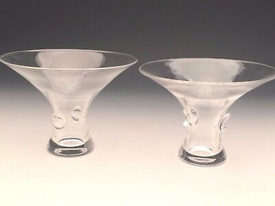 """Steuben Glass George Thompson pair of Signed Bouquet Vases 4.5 and 5"""""""