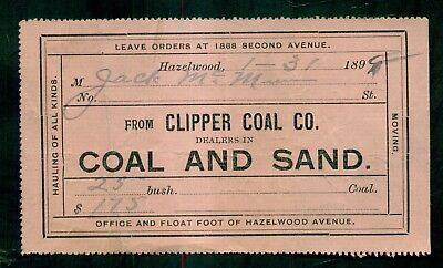 1899 Hazelwood,PA - Clipper Coal Co. Receipt - Dealers in Coal and Sand