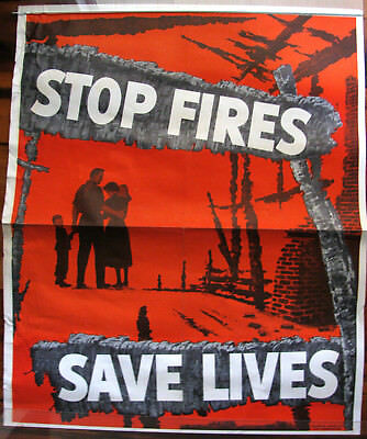Original 1950's Fire Prevention Poster, Stop Fires Save Lives