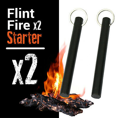 """2X Flint Fire Starter Rod Magnesium Outdoor Camping 5"""" Ferrocerium with Keyring"""