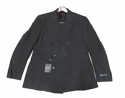 1,995 Polo Ralph Lauren Mens Garrison Double Breasted Charcoal Italy Wool  Suit e31772174447