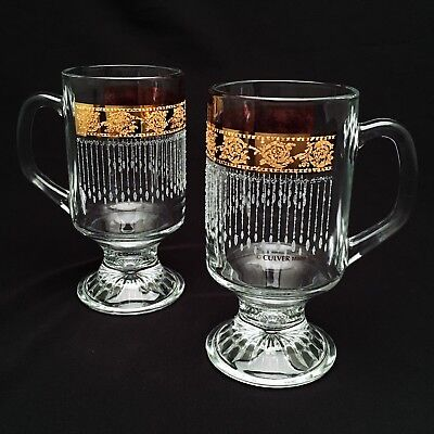 Pair of Vintage Mid Century Modern Culver 'Tyrol' Irish Coffee Mugs