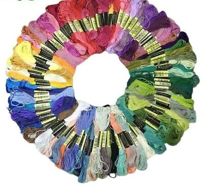 Cross Stitch Cotton Thread Floss Sewing Crochet Skeins Craft DIY 50 Colors Tools