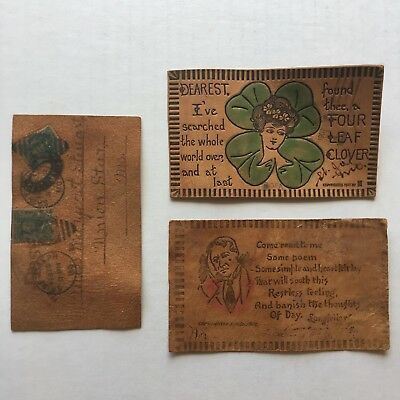 Antique Leather Postcards Lot Of 3 1907 1908 Used Postal Stamps Vtg Collectible