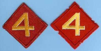 Two Different US Marine Corps USMC Original 4th Division Patches WWII, 1 on Felt