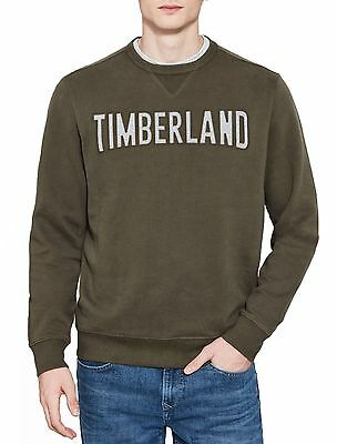 Timberland Mens Crew Neck Retro Logo Sweatshirt Casual Sweat Top Jumper Khaki