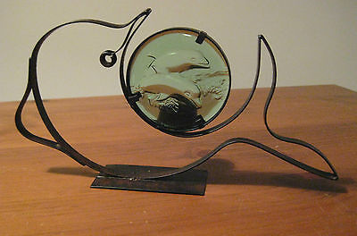Tea Light Holder Green Glass And Iron  Dolphins Jumping From The Sea Unusual