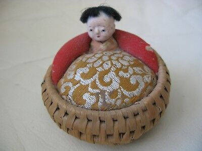 Antique Chinese Doll Fabric & Basket Pin Cushion