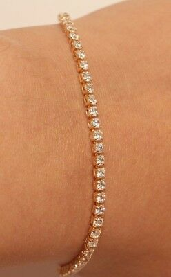 14k Yellow Gold Finish Round Cut Diamonds Tennis Bracelet 2.5ct Anniversary Gift