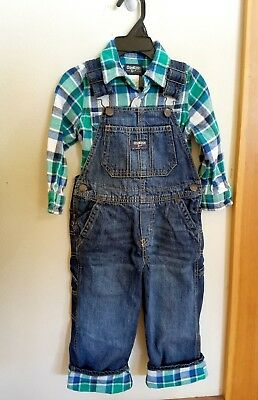 Osh Kosh boys 3T plaid flannel-lined denim overalls with matching flannel shirt