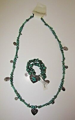 Coldwater Creek Jewelry Set Necklace Bracelet Turquoise Color Stone Tooled Heart