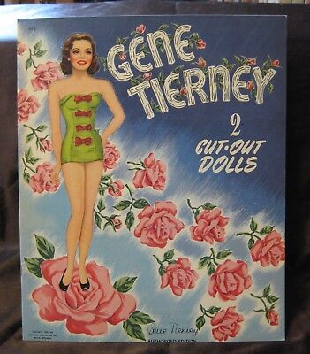 Vintage Original Uncut Whitman 1947 Gene Tierney Cut-Out Paper Dolls #992