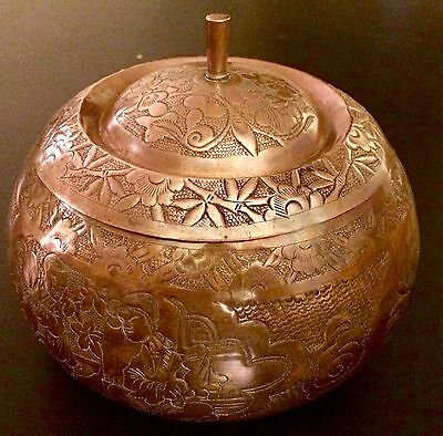 Exquisite Antique Rare Asian Copper Hand Hammered Engraved Art Bowl With Lid