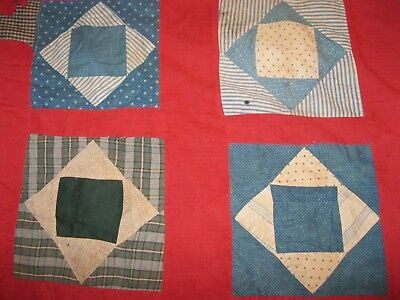 ANTIQUE EARLY BLUE CALICO QUILT ENTIRE BACKSIDE  BLACK & TAN checked HOMESPUN