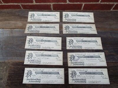 Lot 10 Vintage 1914 cancelled Bank Checks First National Bank St. Johnsville NY
