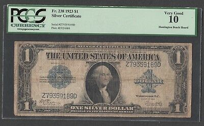 """Fr # 238  1923-Silver Certificate  Large size Blue Seal  PCGS VG 10 """"Huntington"""