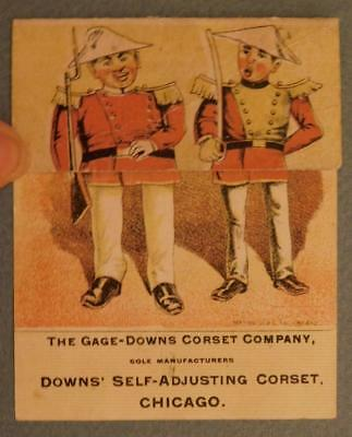 Downs' Self-Adjusting Corsets Fold Over Humorous Victorian Trade Cards