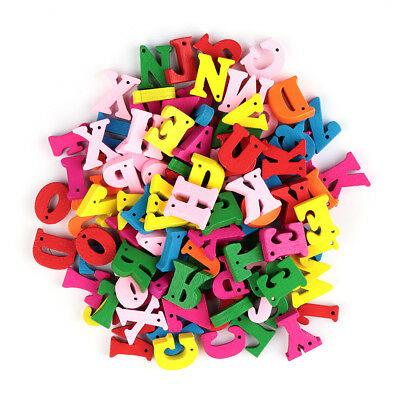 LC/_ 50//100//200x Letters Numbers Wooden Beads Flatback Embellishments Crafts No