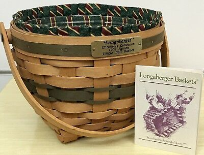Longaberger Christmas Collection Green Jingle Bell Basket 1994, Imperial Stripe