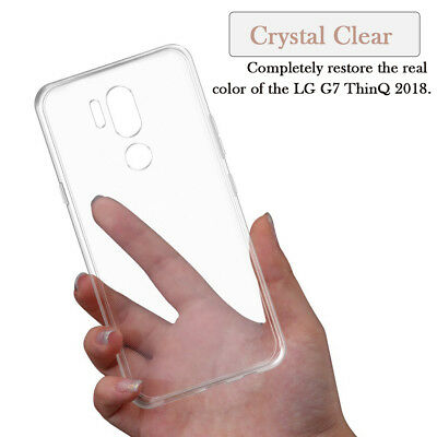 For LG G7 ThinQ Ultra Thin TPU Bumper Clear Acrylic Case Cover Skin Protector