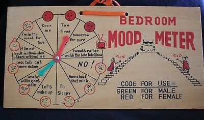 vintage timber BEDROOM MOOD METER naughty novelty humourous wall hanging