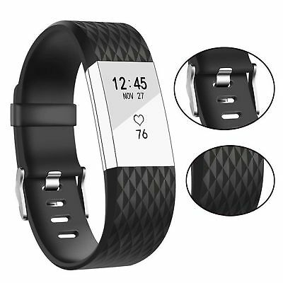 For Fitbit Charge 2 Band Bracelet Strap Replacement Silicone Small Black
