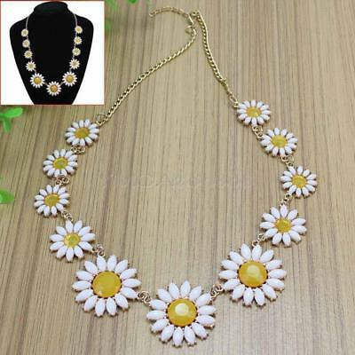Fashion Women Girls Choker Necklace Floral Daisy Flower Charm Bib Chain Boho