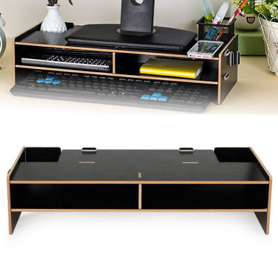 Computer Screen Desktop Stand MDF Monitor Laptop TV Riser Pockets Holder Shelf