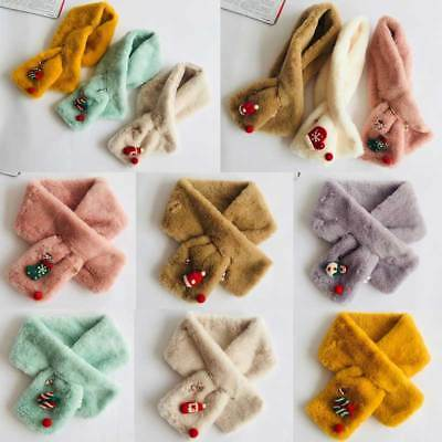 Kids Scarf Christmas Scarves Autumn Winter Plush Neck Warmer Childrens Cute Gift