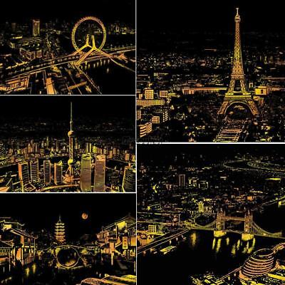 Scratch Drawing Coloring Painting Multicolor World City Nights Pattern MSF