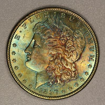 1897 Morgan Silver Dollar *Choice BU* Vibrant Rainbow Toning!