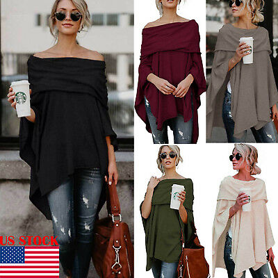 US Fashion Women's Off Shoulder Loose Blouse Casual Blouse Pullover Tops