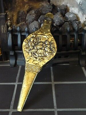 Vintage Wood & Brass 44cm Fireside Fireplace Bellows Tavern/Pub Decorative Scene