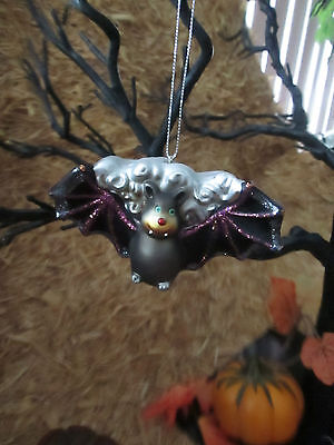"Simply Fall 2.5"" H x 4.5""W Bat Halloween Ornament or Tie On, Dual Purpose, New"