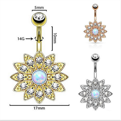 Women Vintage Flower Belly Button Ring Crystal Navel Ring Body Jewellery 6A