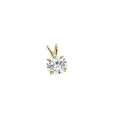 0.50ct Created Diamond Pendant 14K Solid Yellow Gold Solitaire Charm 5mm