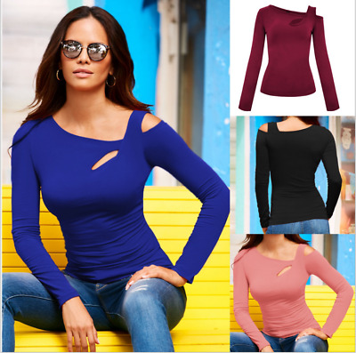 Sexy Womens Skew Collar T-shirts Long Sleeve Tops Fashion Casual Slim Fit Blouse