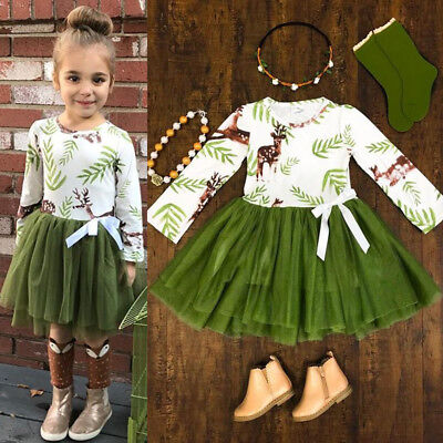 US Toddler Baby Girls Xmas Elk Tutu Skirts Dress Party Clothes Outfits Set 2-7T
