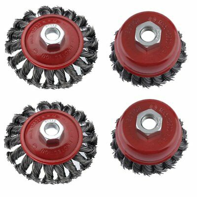 4 X  M14 Crew Twist Knot Wire Wheel Cup Brush Set For 115mm Angle Grinder R
