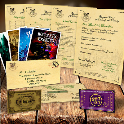 Harry Potter Personalizado Aceptación Carta Hogwarts & Expreso Train Ticket