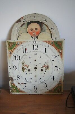 antique grandfather long case clock dial face hand painted holgate wigan