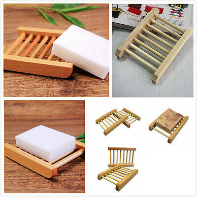 Natural Wood Soap Dish Wooden Soap Tray Holder Storage Soap Rack Plate Box FL