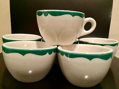 Buffalo China LOT of 6 GREEN CREST Cups