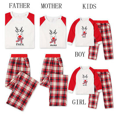 Family Matching Christmas Pajamas Set Women Baby Kids Winter Sleepwear US STOCK