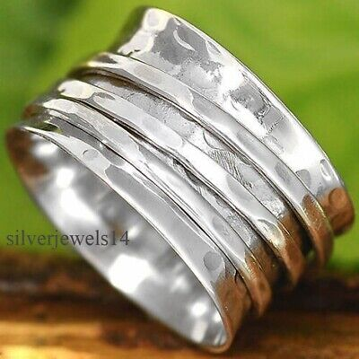 Solid 925 Sterling Silver Wide Band Spinner Ring Meditation Statement Ring GS69