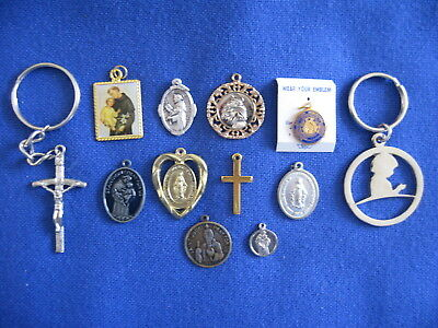 Unique Lot of 12 Catholic Religious Vintage MEDALS CROSS and DEVOTIONALS