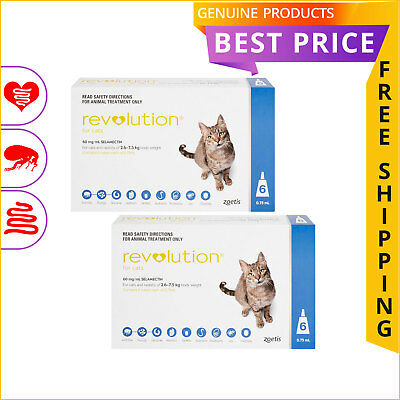 REVOLUTION Heartworm Flea Control for Cats 2.6 to 7.5 Kg Blue 12 Doses