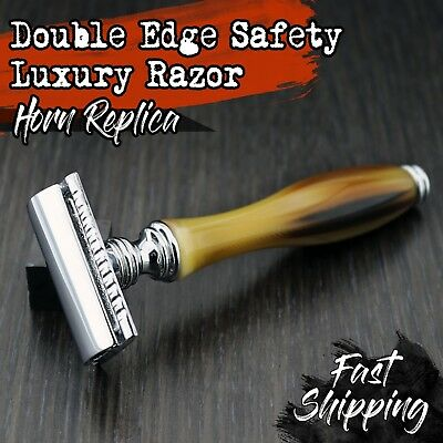 Double Edge Safety Razor NEW HARYALI LONDON HORN COLLECTION + Free Blades